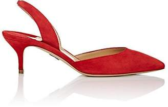 Paul Andrew Women's Rhea Suede Slingback Pumps - Red