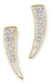 Adina 14K Yellow Gold Pavé Diamond Tusk Earrings