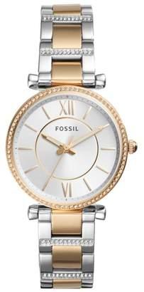 Fossil Carlie T-Bar Crystal Bracelet Watch, 35mm