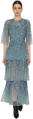 Elie Saab Embellished Sheer Georgette Dress