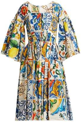 Dolce & Gabbana - Majolica Print Square Neck Cotton Poplin Dress - Womens - White Print