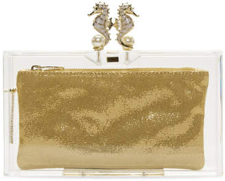 Charlotte Olympia Transparent Perspex Pandora Seahorse Clutch