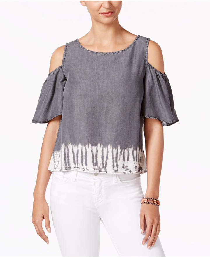 Buffalo David Bitton Tannen Tie-Dyed Cold-Shoulder Top