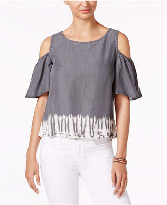 Buffalo David Bitton Tannen Tie-Dyed Cold-Shoulder Top $69 thestylecure.com