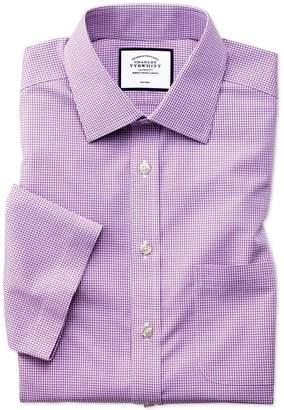 Charles Tyrwhitt Slim Fit Non-Iron Pink Check Natural Cool Short Sleeve Cotton Dress Shirt Size 17.5/Short
