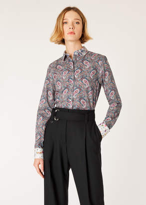 Paul Smith Women's Paisley Print Shirt With Contrast Cuffs And Collar