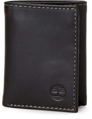 Timberland Black Leather Tri-Fold Wallet