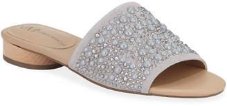 Neiman Marcus Blyno Embellished Suede Slide Sandals