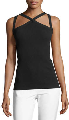 Michael Kors Cross-Front Fitted Halter Top