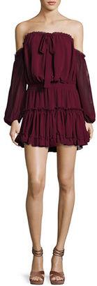 MISA Los Angeles Indi Off-the-Shoulder Mini Blouson Dress $246 thestylecure.com