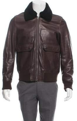 Acne Studios Abel Shearling-Trimmed Leather Jacket