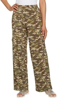 Denim & Co. Beach Petite Pull-On Wide Leg Knit Cargo Pants