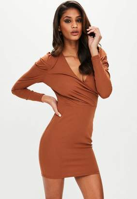 Missguided Brown Puffed Sleeve Bodycon Dress, Tan