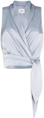 Nanushka Silo tie-waist satin blouse