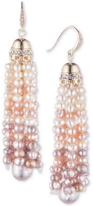Carolee Gold-Tone Crystal & Pink Imitation Pearl Tassel Drop Earrings
