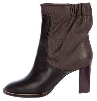 Chloé Leather Round-Toe Booties