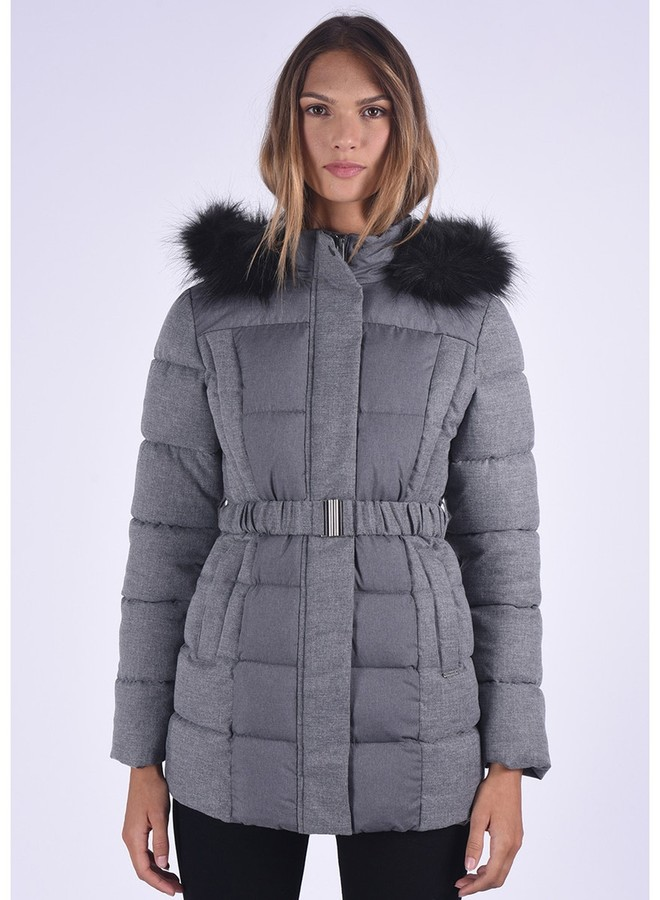 5 Dual Fabric Mid-Length Padded Jacket with Fur Hood