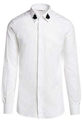 Dolce & Gabbana Men's Embroidered Bee Collar Button-Down Shirt