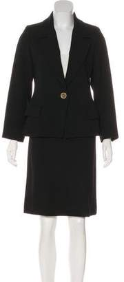 Saint Laurent Rib Knit Wool Skirt Suit