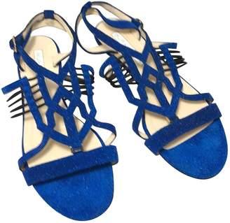 Burak Uyan Blue Leather Sandals