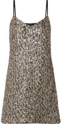 Anna Sui Twinkling Stars At Night Sequined Mesh Mini Dress - Gold