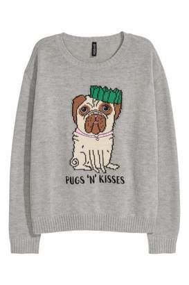 H&M Knit Sweater - Gray/Pugs 'n' Kisses - Women
