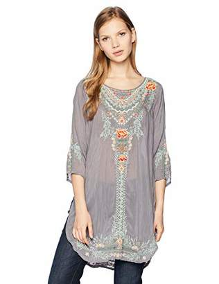 Johnny Was Women's 3/4 Sleeve Shirttail Tunic with Multicolor Embroidery