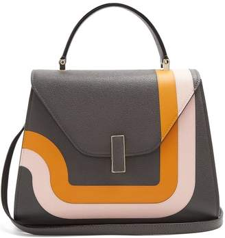 Valextra Iside Medium Striped Grained Leather Bag - Womens - Grey Multi
