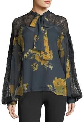 Sachin + Babi Vaja Tie-Neck Floral-Print Blouse w/ Lace