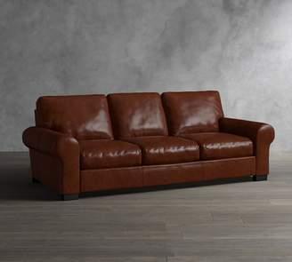 Pottery Barn Turner Roll Arm Leather Sleeper Sofa