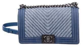 Chanel Medium Denim Chevron Boy Bag