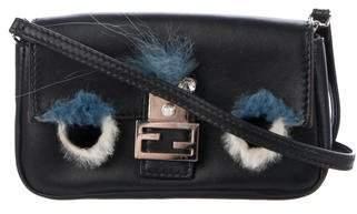 Fendi 2018 Fur-Trimmed Bag Bugs Micro Baguette