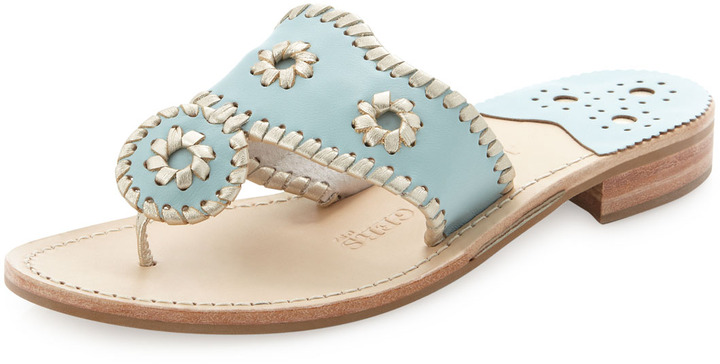 Jack Rogers Palm Beach Whipstitched Thong Sandal, Blue/Platinum