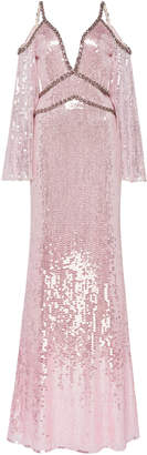 Jenny Packham Cold-Shoulder Sequined Dress Size: 8
