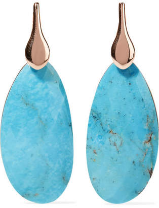 Monica Vinader Nura Rose Gold Vermeil Turquoise Earrings - one size