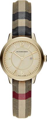 Burberry Women's Swiss Honey Check Fabric Strap Watch 32mm BU10104 $795 thestylecure.com
