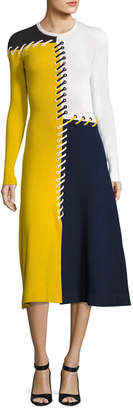 Cédric Charlier Colorblock Lace-Up Sweaterdress, Multi