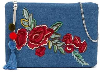 Steve Madden Hazel Rose Embroidered Denim Crossbody Bag