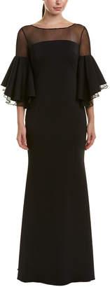 Badgley Mischka Silk-Trim Gown