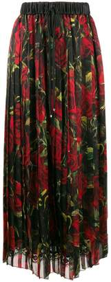 Dolce & Gabbana rose print pleated skirt