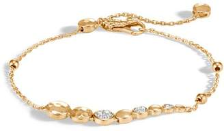 John Hardy 18K Yellow Gold Dot Hammered Pavé Diamond Pull Chain Bracelet