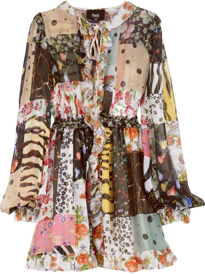 D&G DOLCE&GABBANA Silk patchwork dress