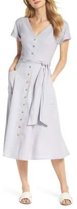 Gal Meets Glam Vanessa Button Front Linen Blend Dress