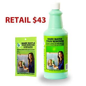 URBAN RESEARCH Bio Clean: Eco Friendly Hard Water Stain Remover (40oz Large)- Our Professional Cleaner Removes Tuff Water Stains From Shower