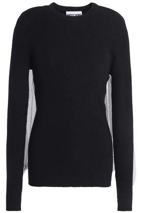 Tulle-Paneled Ribbed Wool Sweater