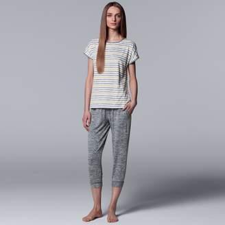 Vera Wang Women's Simply Vera Striped Tee & Joggers Pajama Set
