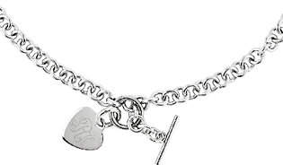 "Steel by Design Stainless Steel 18"" Engravable Heart Charm Rolo Link Necklace"