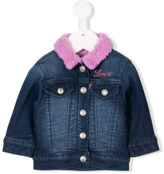 Levi's Kids faux fur collared denim jacket