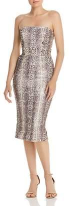 Dress the Population Strapless Sequin Snake-Print Midi Dress