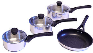 Pyrex Expert Touch Stainless Steel Lidded Saucepans and Frying Pan Set, 4 Pieces
